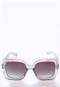 Gray Lucite Square Sunglasses
