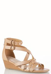 Studded Cross Strap Wedge Sandals