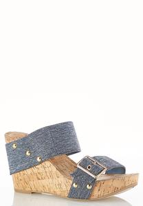 Denim Buckle Strap Platform Wedges