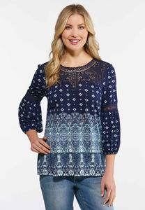 Plus Size Navy Floral Paisley Top