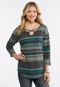 Plus Size Hacci Striped Criss Cross Top