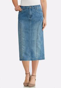 Plus Size Seamed Denim Skirt