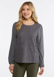 Plus Size Mesh Lace Hacci Top