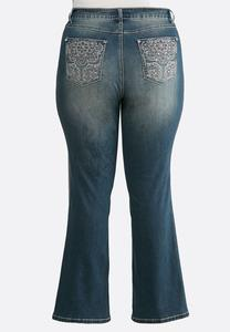 Plus Size Floral Rhinestone Jeans