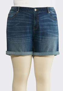 Plus Size Cuffed Denim Shorts