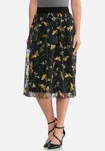 Plus Size Floral Lace Midi Skirt