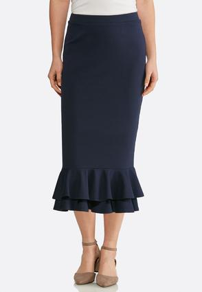 Plus Size Ruffled Ponte Skirt