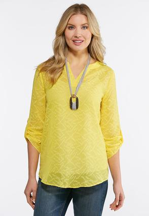 Plus Size Gold Jacquard Pullover Top
