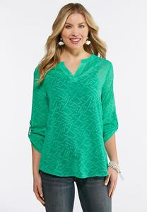 Plus Size Green Jacquard Pullover Top