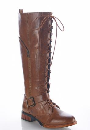 Wide Width Lace Up Front Riding Boots