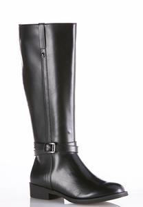 Wide Width Stretch Calf Buckle Riding Boots