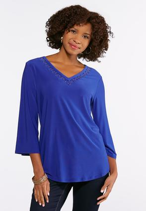 Plus Size Blue Gold Ring Top