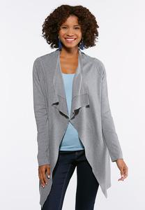 Plus Size Gray Draped Cardigan Sweater