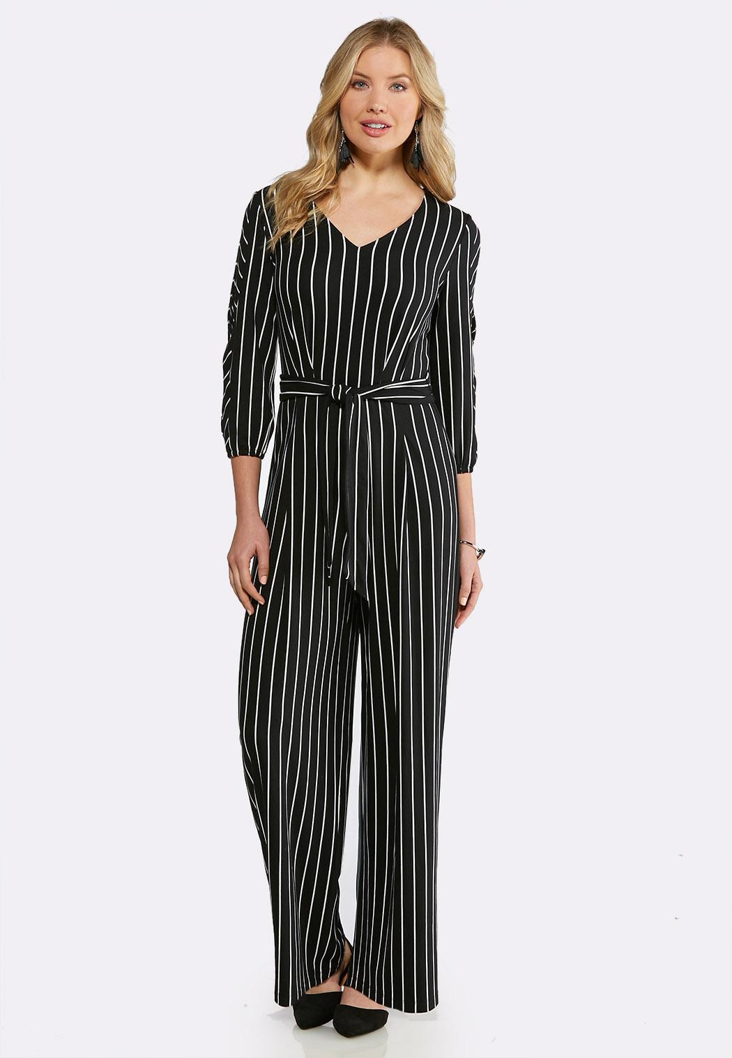 63ace953f4b4 Plus Size Stripe Slit Sleeve Jumpsuit Jumpsuits Cato Fashions