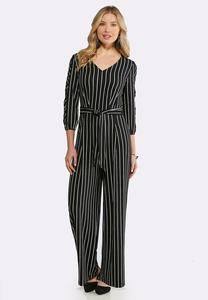 Plus Size Stripe Slit Sleeve Jumpsuit