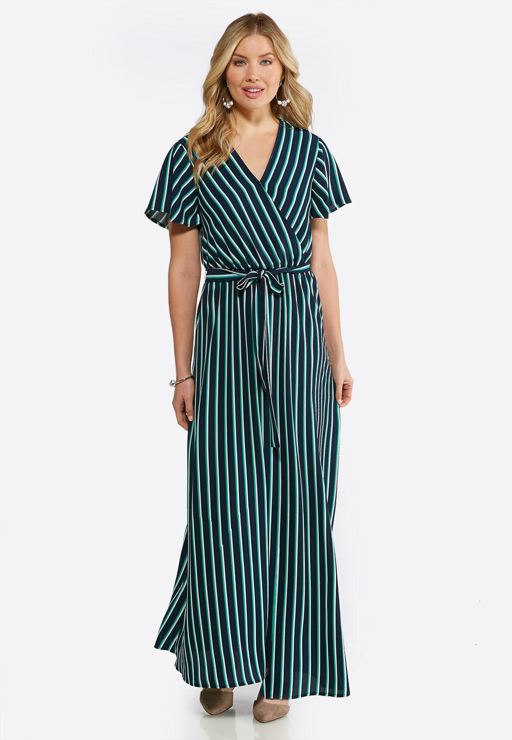 Striped Flutter Sleeve Maxi Dress Junior/Misses Cato Fashions