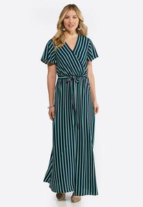 Plus Size Striped Flutter Sleeve Maxi Dress