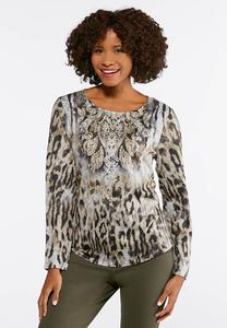 Plus Size Paisley Animal Print Top