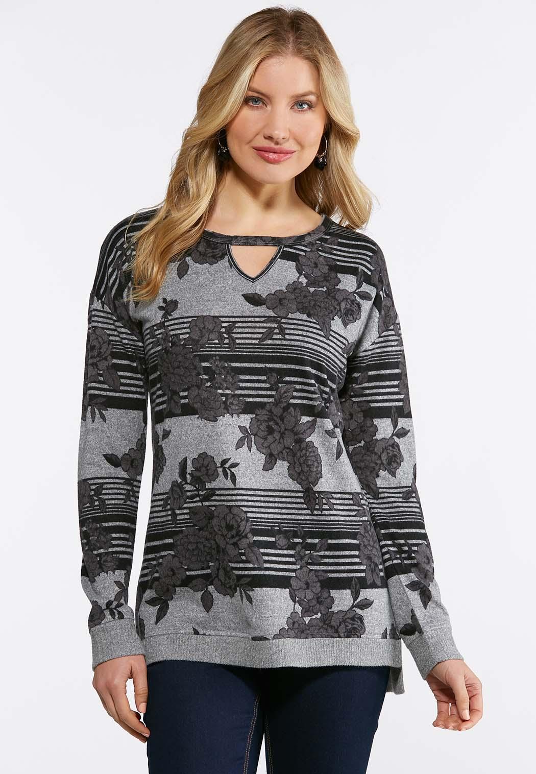 14feb2b506a06 Gray Floral Sweatshirt alternate view · Gray Floral Sweatshirt