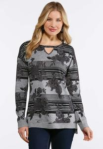 Plus Size Gray Floral Sweatshirt
