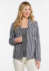 Plus Size Blue Stripe Jacket