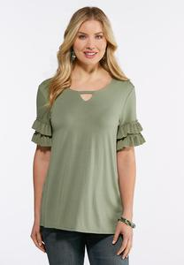 Plus Size Tiered Pleated Sleeve Top