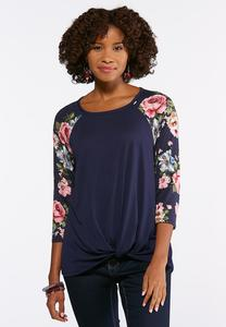 Plus Size Navy Floral Knotted Raglan Top
