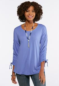 Solid Ruched Sleeve Top