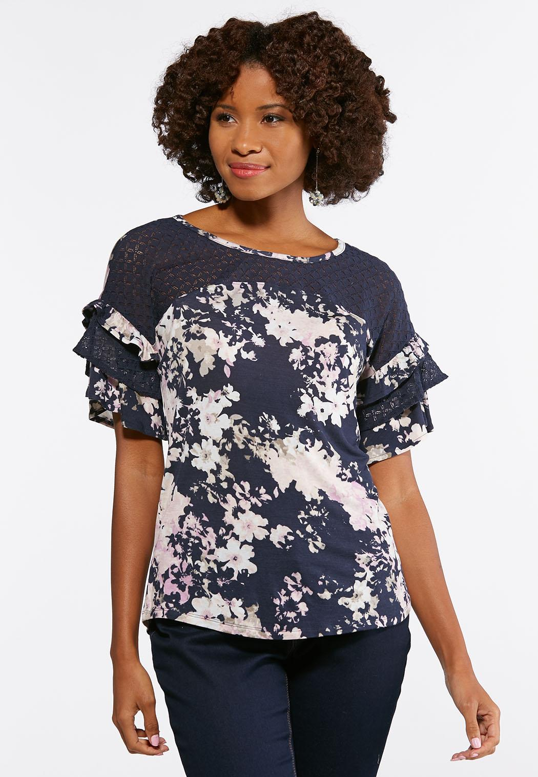 4ec1137bb8f Plus Size Floral Lace Flutter Sleeve Top Tops Cato Fashions