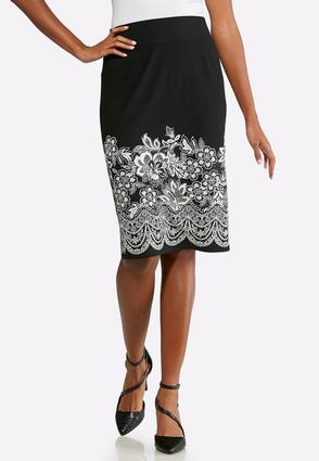 Textured Floral Pencil Skirt