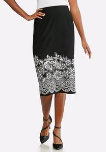 Plus Size Textured Floral Pencil Skirt