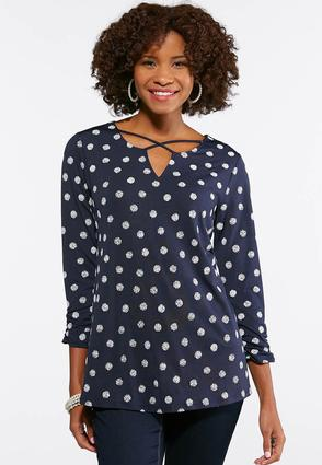 Navy Criss Cross Puff Print Top