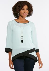 Plus Size Colorblock High-Low Top