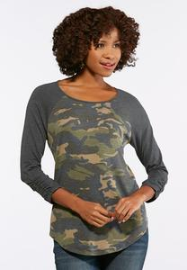 Plus Size Camo Ruched Sleeve Top
