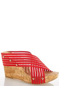 Mesh Band Cork Wedges