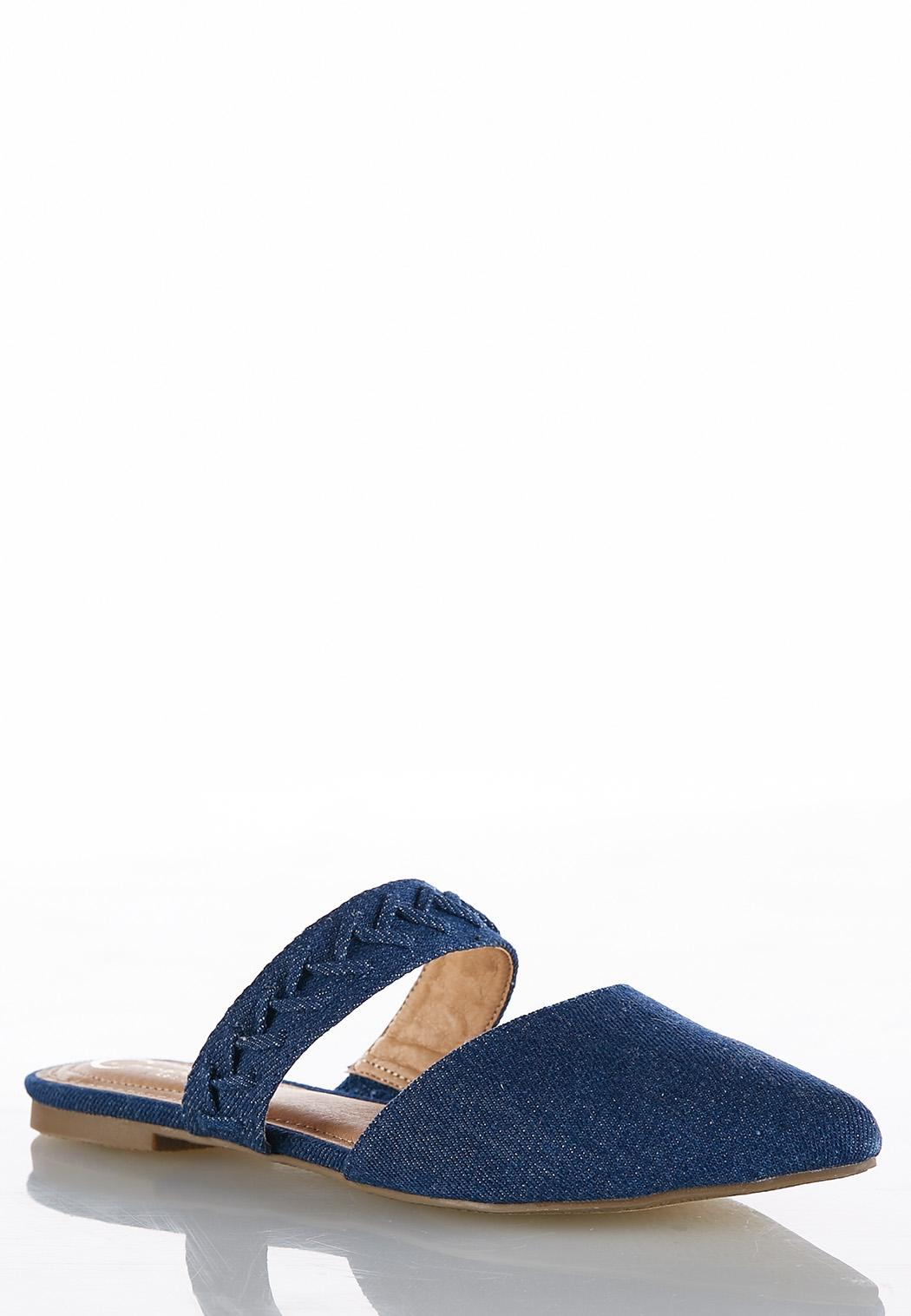 Denim Pointy Toe Mules