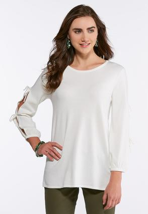 Plus Size Tie Slit Sleeve Sweater