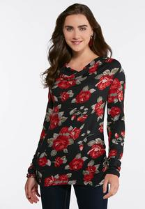 Plus Size Floral Cowl Neck Top