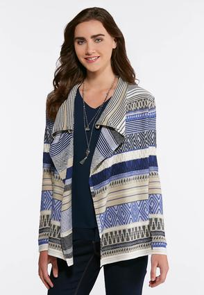 Plus Size Mixed Stripe Aztec Cardigan