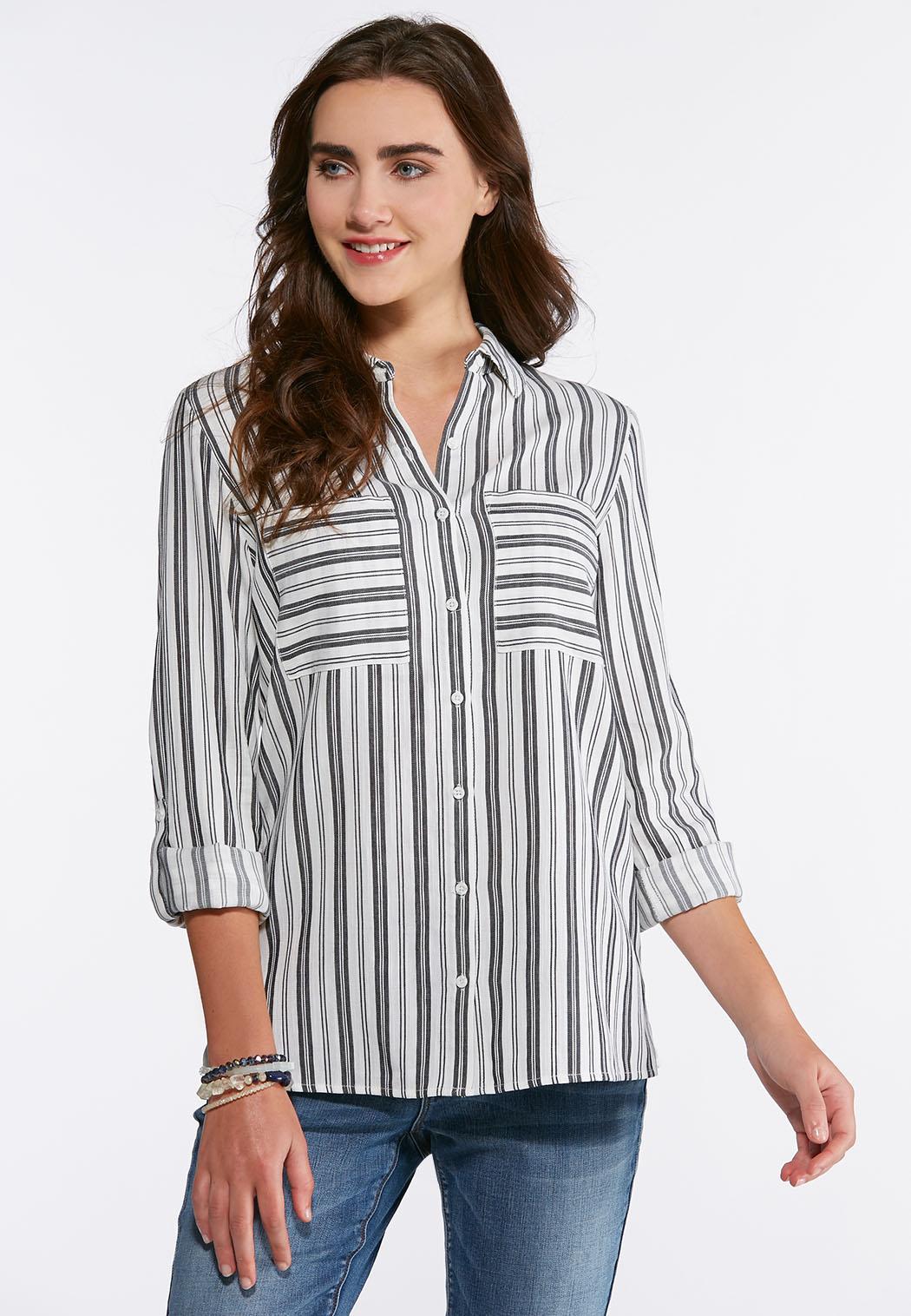 Gray Striped Shirt