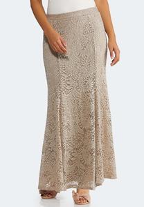 Plus Size Lace Mermaid Maxi Skirt