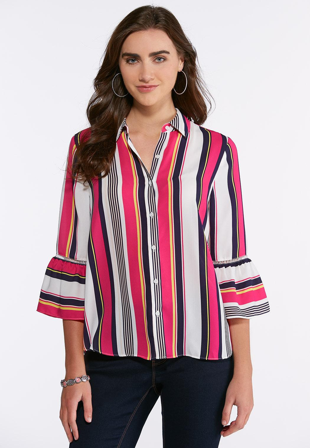 Bright Striped Bell Sleeve Top