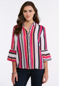 Plus Size Bright Striped Bell Sleeve Top