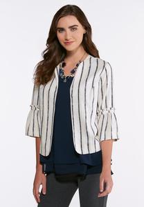 Plus Size Stripe Linen Blazer