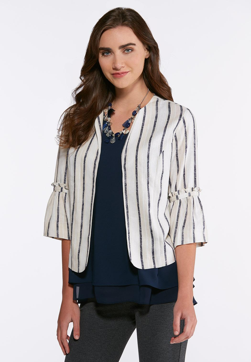 ce4205b3b5d Plus Size Stripe Linen Blazer Fashion Jackets Cato Fashions