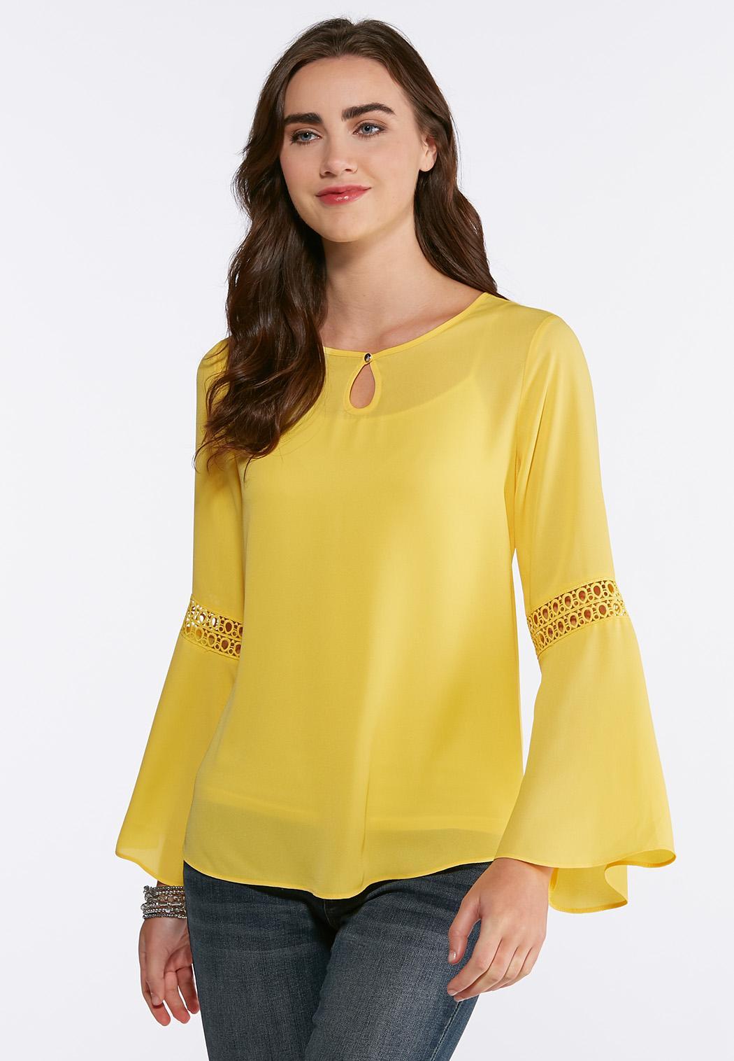 Plus Size Lace Trim Poet Top Shirts Blouses Cato Fashions