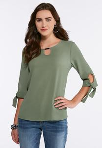 Plus Size Embellished Tie Sleeve Top