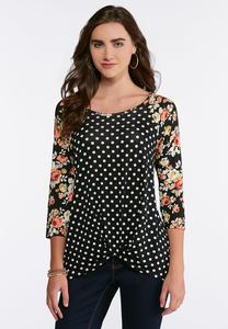 Dotted Floral Knotted Raglan Top