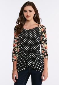 Plus Size Dotted Floral Knotted Raglan Top