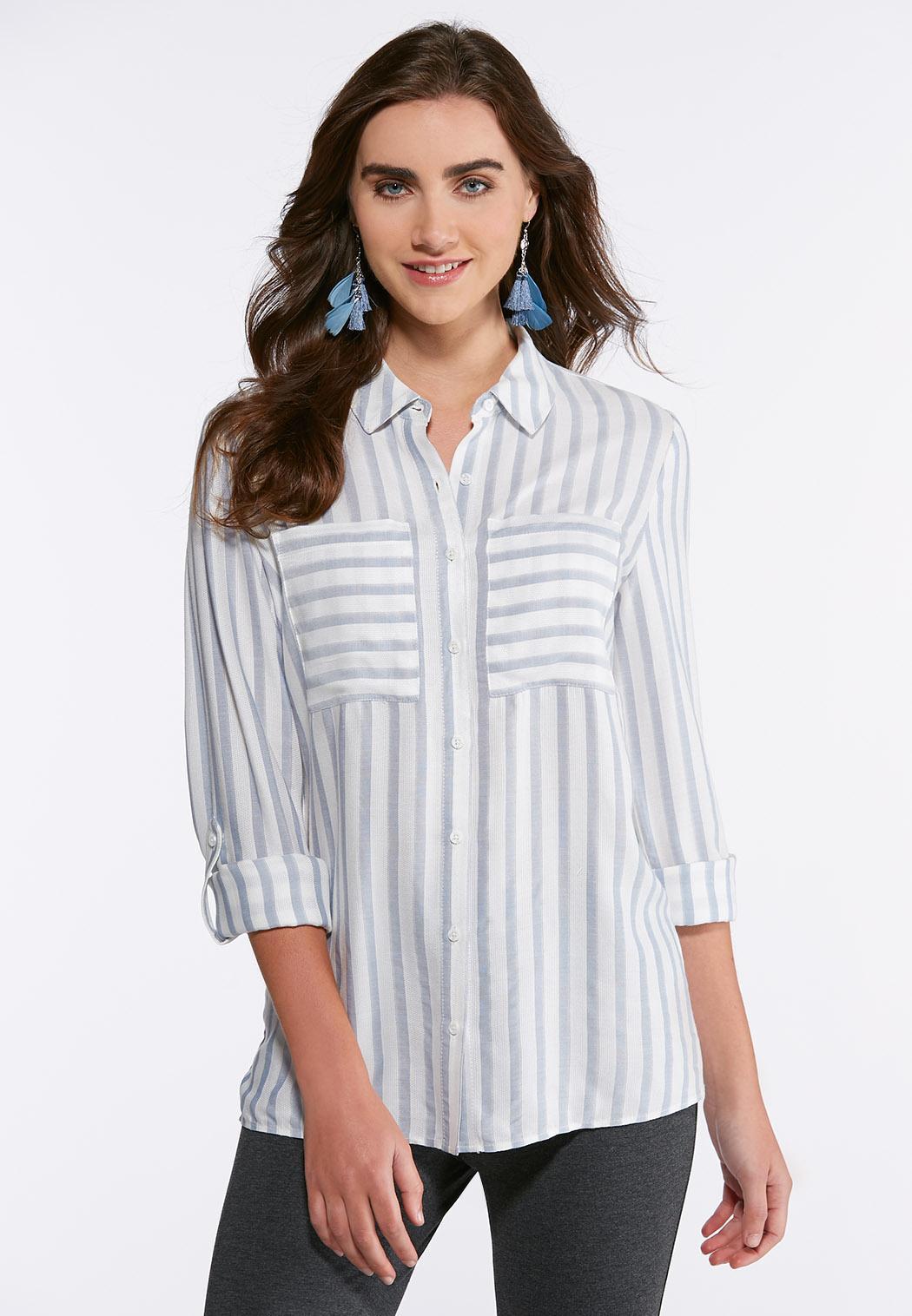 Plus Size Blue Striped Button Down Shirt